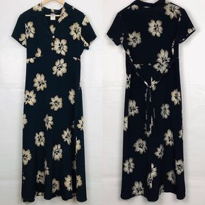 Vintage | Navy Floral Print Dress - Knapp Studio